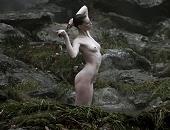 Alyssa Sutherland shows boobs & butt as she bathes in a stream