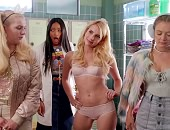 Emma Roberts takes off her clothes in a locker room standing only in her underwear