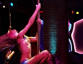 Katie Cassidy looses her top on the strip club floor