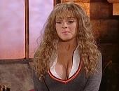 Lindsay Lohan short skirt & low cut uniform shows huge cleavage