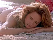 Lea Thompson tanning their naked buns on the beach