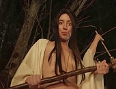Aubrey Plaza riding a guy & flashing her tits performing a witch ritual