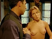 Elsa Pataky topless exposing her boobs before putting on a dress
