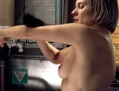 Katee Sackhoff shows her left boob as she washes herself