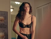 Emmy Rossum in a black bra & panty before getting dressed